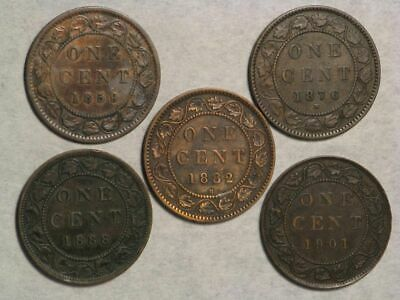 CANADA 1859-1901 1 Cent Victoria - Lot of 5 Coins Avg. F-VF