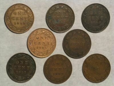 CANADA 1902-1910 1 Cent Edward VII - 8 Coins/Dates