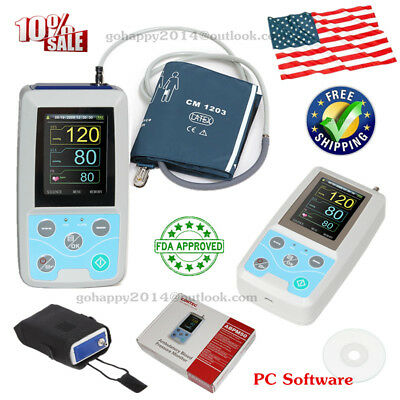 portable 24h NIBP Holter ABPM50 Ambulatory Blood Pressure Monitor adult cuff USA