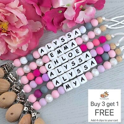 Personalised Dummy Clip - Pacifier Chain - Soother Holder - Baby Binky Band