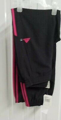 Brand New Adidas Stinger Girl's Track Bottoms Black Pink Xl-16 Years Old