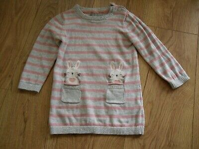 Baby girls 12-18 months pink and grey dress