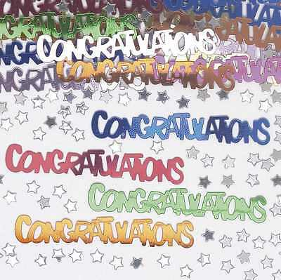 PA 2 x CONGRATULATION TABLE CONFETTI PARTY DECORATIONS MULTI COLOUR