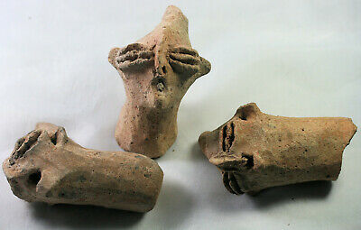 Three large old pottery heads - possibly ancient, Egyptian? Near Eastern?