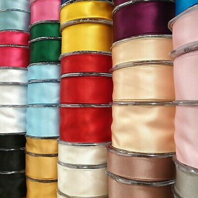 WIRED EDGE DOUBLE SIDED BEAUTIFUL SATIN RIBBON 25/38/50mm Wide Plain Cut Per 1M