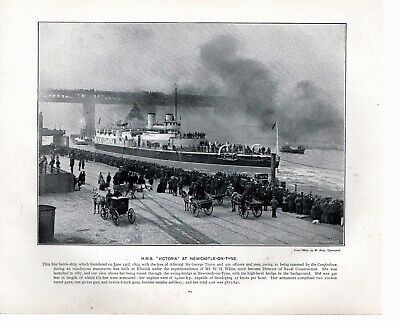H.M.S. Victoria At Newcastle-On-Tyne. Victorian Print From 1900 For Framing