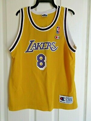 Kobe Bryant #8 Vintage Champion LA Los Angeles Lakers Jersey Youth Large Gold