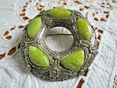 Vintage  Arts & Crafts Scottish Green  Agate Large Brooch Signed Miracle