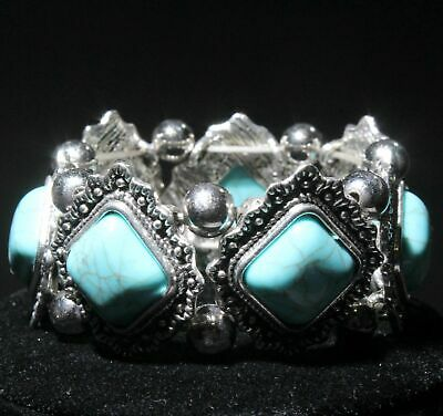 Collection China Miao Silver Turquoise Handwork Carve Nice Rhombus Hand Catenary
