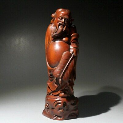 Collectable China Old Boxwood Handwork Carve Longevity Old Man Auspicious Statue