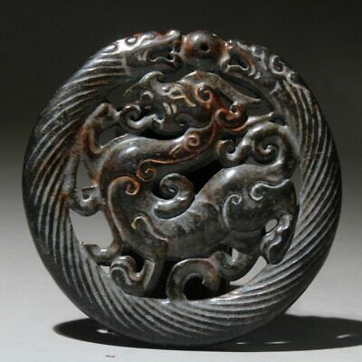 Collectable China Old Natural Jade Handwork Carve Myth Animal Auspicious Pendant