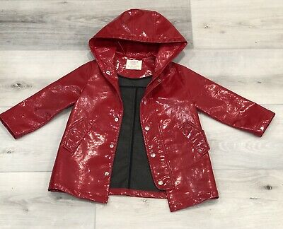 ZARA Girls Red FAUX PATENT LEATHER RAINCOAT Jacket Coat Size 5 Long