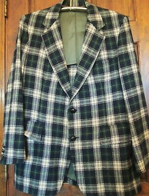 Vintage Men's Pendleton Blue & Green Tartan Plaid Wool Blazer Suit Jacket M 44
