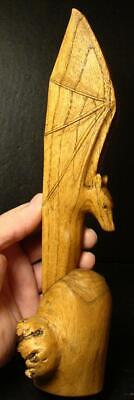 Highly Detailed Hand Carved Folk Art Large Bat-Carved From Cypress Tree Root