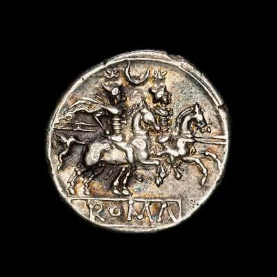 *Lucernae* Anonymous Denarius The dioscuris - Crescent Rome 211-206 B.C.