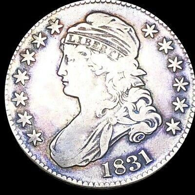 1831 Capped Bust Half Dollar LIGHTLY CIRCULATED Philadelphia Colorful 50c Silver