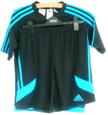 Adidas Climalite sportswea T-shirt & Shorts Black Blue UK YXL VGC 12/13 yrs old
