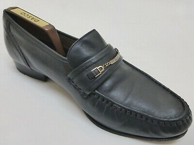 Bally Blue Leather Horsebit Loafers Moccasins Driving Shoes English Made 8.5 Vtg