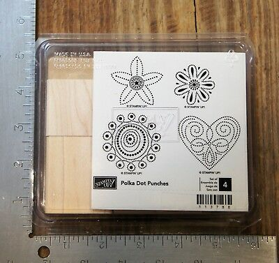 DOTS Set of 4 Ragdoll Hostess Gift Wood Mounted Rubber Stamps Retired