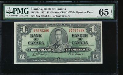 AC BC-21c Bank of Canada 1937 $1 PMG 65 EPQ S/A block
