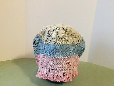 Vintage Baby Bonnet Crocheted with blue,pink,off white