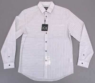 JOE Joseph Abboud Men's Striped Slim Fit Sport Shirt HD3 Light Gray Medium NWT