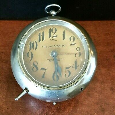 Antique New Haven The Automatic Steampunk  Metal Alarm Clock 8-Day - Ticks!