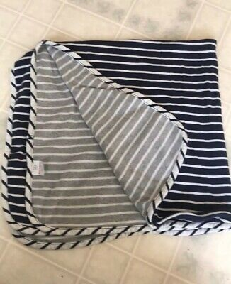 Hanna Andersson 100% Organic Cotton Blue Grey Candy Cane Str. Receiving Blanket