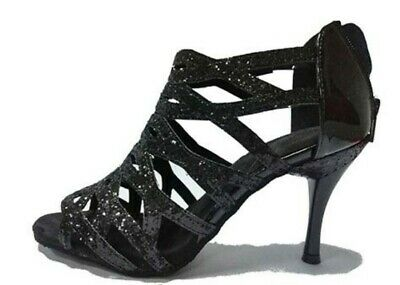 Sequined Cloth Mixed PU Glitter Latin Dance Shoes Ballroom Salsa Bachata Shoes