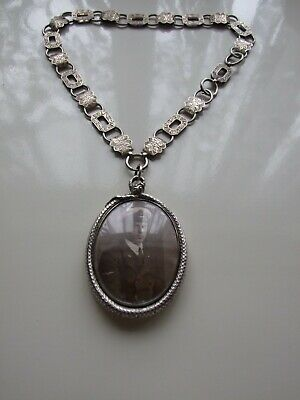 Large Antique Victorian Silver Snake Locket Pendant & Necklace
