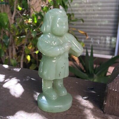 Chinese old natural jade hand-carved Figure statue Fine Art Green High Quality