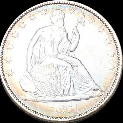 1871 Seated Half Dollar APPEARS UNCIRCULATED Philly ms bu 50c Liberty Silver NR!