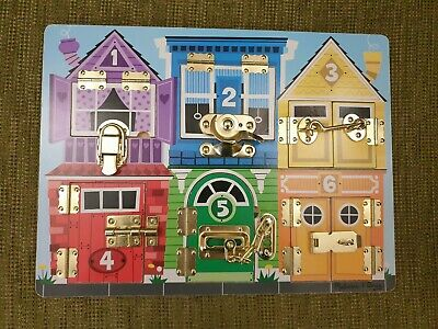 Melissa and Doug Wooden Latches Board - Educational Toy - Fine Motor Skills