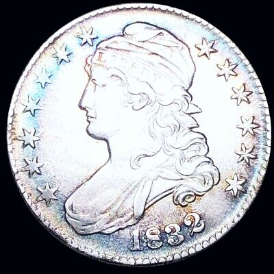 1832 Capped Bust Half Dollar CLOSELY UNCIRCULATED Philly Colorful 50c Silver NR!