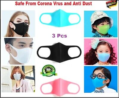 3Pcs Washable Earloop Mask Outdoor Cycling Anti Dust Mouth Face Mask Adult Kids