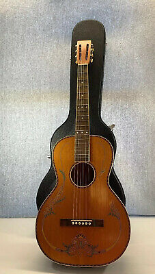 Antique Flower Floral Parlor? Acoustic Voisinet Guitar 1920s-30s Cracked W Case