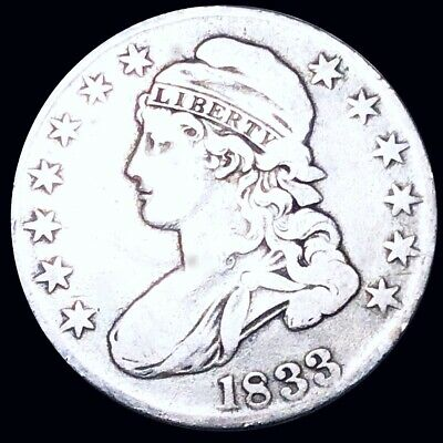1833 Capped Bust Half Dollar NICELY CIRCULATED Philadelphia 50c Silver Coin NR!