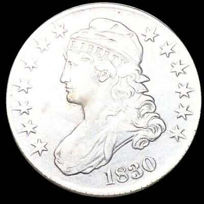 1830 Capped Bust Half Dollar CLOSELY UNCIRCULATED Philadelphia 50c Silver Coin!