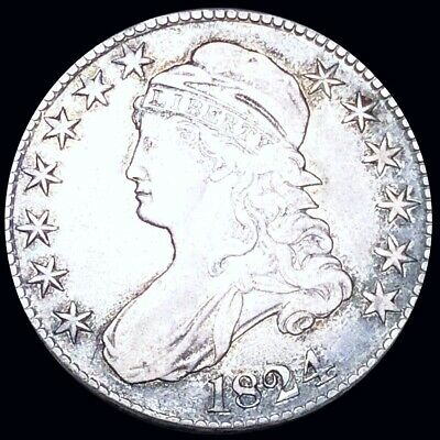 1824 Capped Bust Half Dollar ABOUT UNCIRCULATED Philadelphia au 50c Silver Coin!