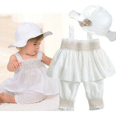 Baby girl kid pure white summer suit of ruffle top+pants+hat outfit clothes
