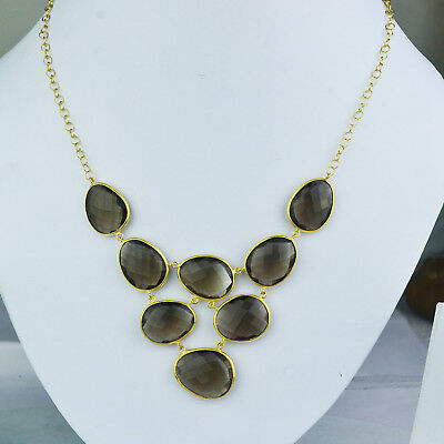 """Smoky Quartz gemstone gold plated Necklace 925 Sterling Silver 18"""" Jewelry 22.30"""