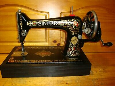 "1915 Antique Singer Sewing Machine  Model 66 "" Red Eye "", Hand Crank, Serviced"