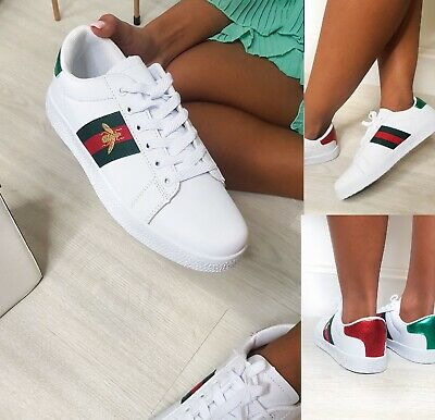 Womens Ladies Flat White Running Gym Casual Lace Up Summer Trainers Shoes Size
