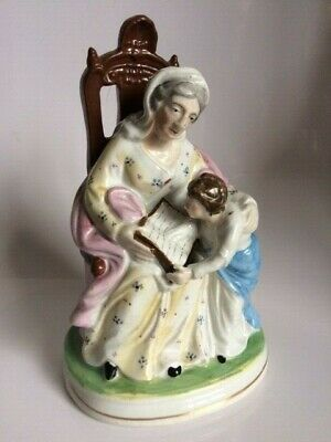 Antique 19Th Century Staffordshire Figure Of An Old Lady And Child Reading