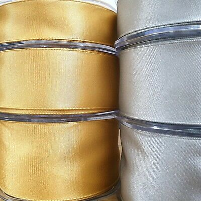 Wired Edge Gold / Silver Double Sided Satin Ribbon 25/38/50mm Wide Per 1M Length