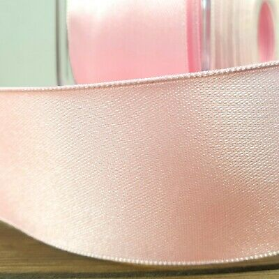 Beautiful Wired Double Sided Satin Ribbon Light Pink 25mm-50mm Wide Baby Per 1M