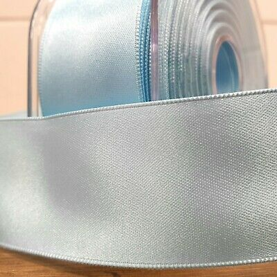 Beautiful Wired Double Sided Satin Ribbon Light Blue 25mm-50mm Wide Baby Per 1M