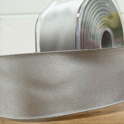 Beautiful Wired Edge Double Sided Satin Ribbon Silver 25mm/38mm/50mm Wide Per 1M