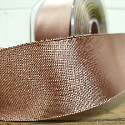 Beautiful Wired Double Sided Satin Ribbon Deep Rose Gold 25mm-50mm Wide Per 1M