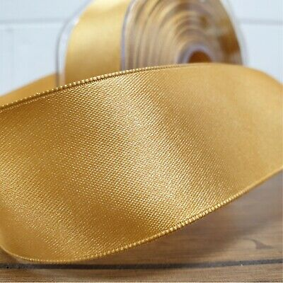 Beautiful Wired Edge Double Sided Satin Ribbon Gold 25mm-50mm Wide Plain Per 1M